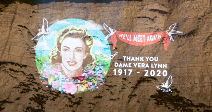 Dame Vera Lynn projected on White Cliffs of Dover