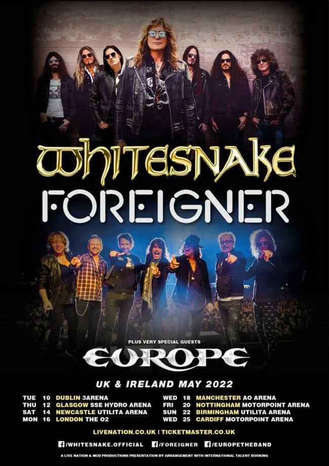 Whitesnake, Foreigner, Europe, Tour, Music News, TotalNtertainment